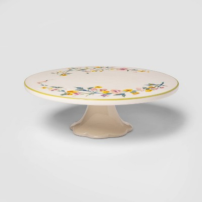"11"" Stoneware Floral Cake Stand - Threshold™"