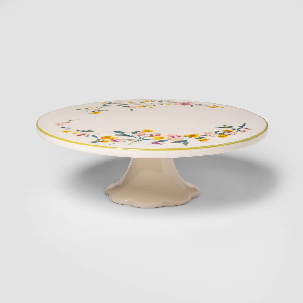 "Image of ""11"""" Stoneware Floral Cake Stand - Threshold"""