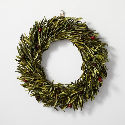 """20"""" Preserved Olive Leaf Plant Wreath - Hearth & Hand™ with Magnolia"""