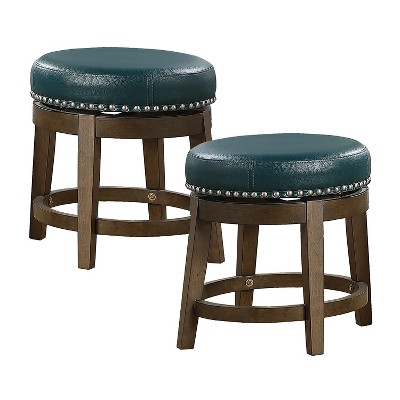 Lexicon Whitby 18 Inch Dining Height Wooden Bar Stool with Solid Wood Legs and Faux Leather Round Swivel Seat, Green (2 Pack)