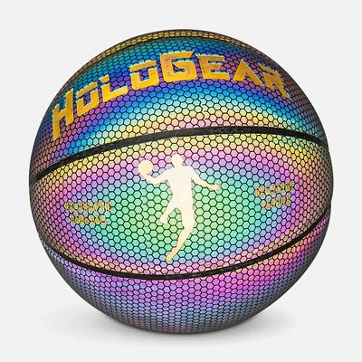 HoloGear HGWMBBP Patented Holographic Glowing Reflective Leather Regulation Size Basketball for Indoor and Outdoor Play, 28.5 Inch, Ages 13 and Under