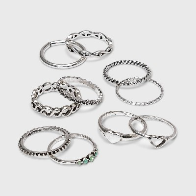 Rhodium with Acrylic Stones Multipack Rings - Wild Fable™