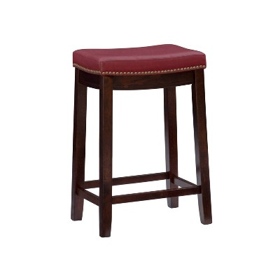 Claridge Leather Saddle Counter Height Barstool - Linon
