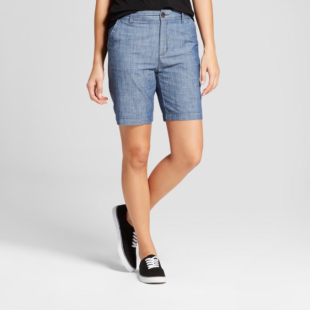 "Women's 9"" Chino Shorts - A New Day Chambray 8, Blue"