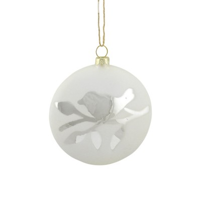 """Napa Home and Garden 3.75"""" Matte Bird on Branch Glass Disc Christmas Ornament - Silver/White"""
