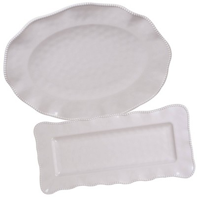 2pc Melamine Perlette Platter Set Cream - Certified International
