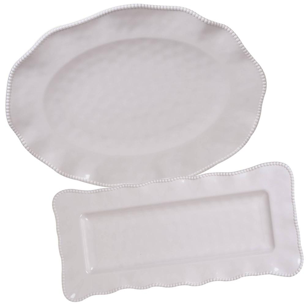 Image of 2pc Melamine Perlette Platter Set Cream - Certified International, Beige