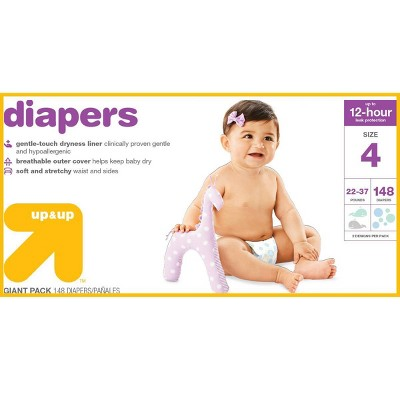 Diapers Giant Pack Size 4 - 148ct - Up&Up™