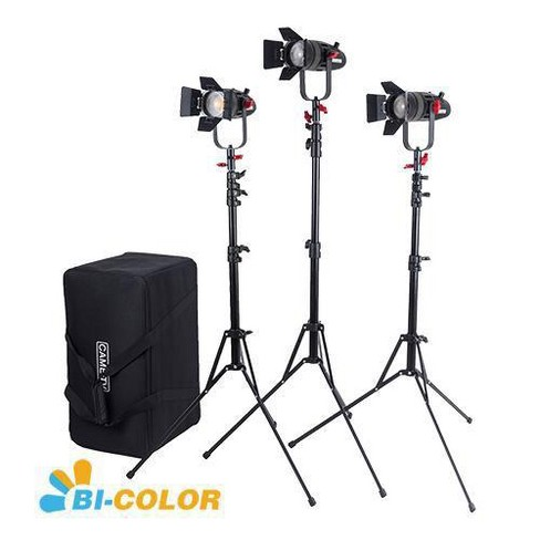 Came-TV Boltzen 55W Fresnel Focusable Bi-Color LED 3-Light Kit with 3x Light Stands & 1x Carry Case - image 1 of 1