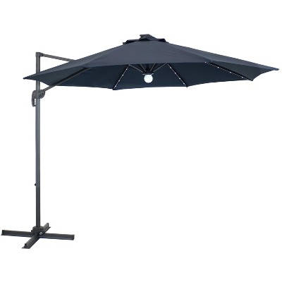 Offset Solar LED Lighted Patio Umbrella - Navy Blue - Sunnydaze Decor