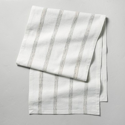 Oversized Texture Rib Stripe Table Runner Black/Sour Cream - Hearth & Hand™ with Magnolia