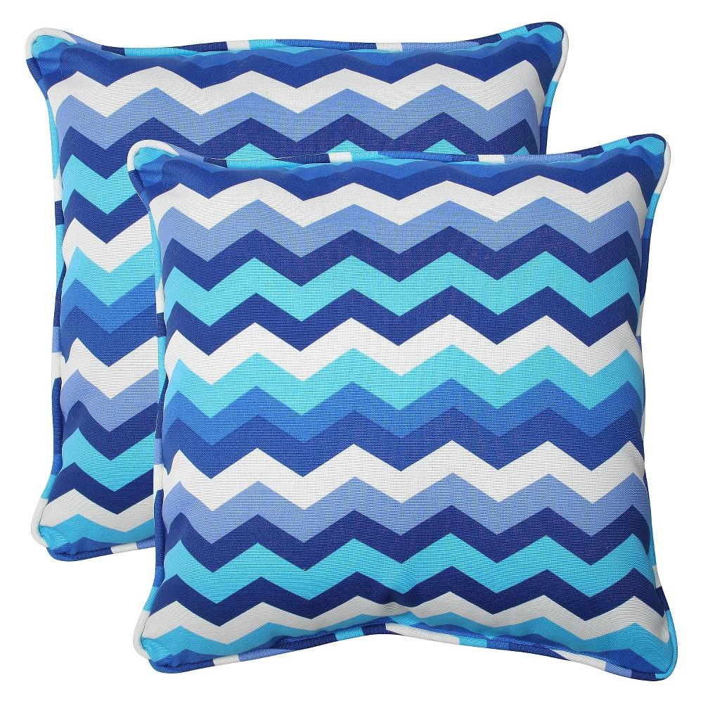 2pc Square Outdoor Decorative Throw Pillow Set - Blue/White - Pillow Perfect, Blue/Beige