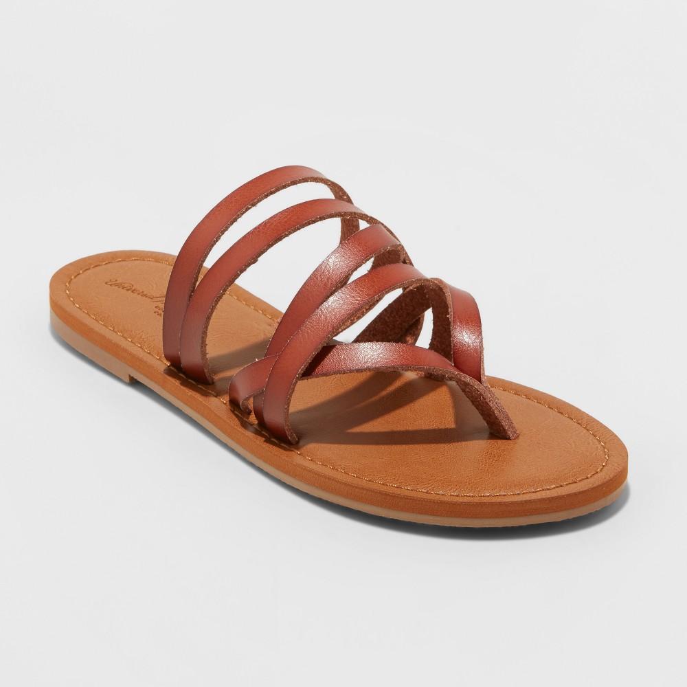 Women's Maritza Multi Strap Toe Wide Width Slide Sandal - Universal Thread Cognac (Red) 9.5W, Size: 9.5 Wide