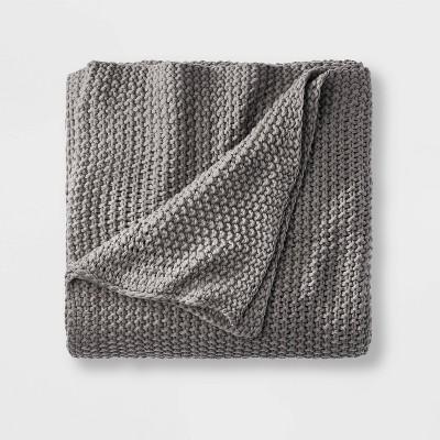 Full/Queen Chunky Knit Bed Blanket Dark Gray - Casaluna™