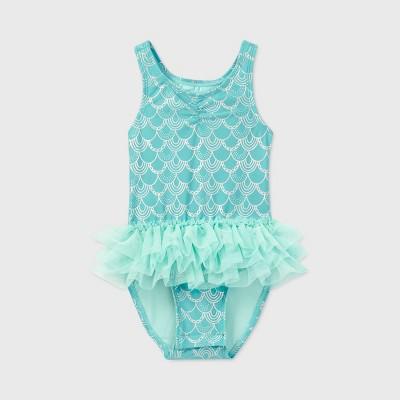 Toddler Girls' Mermaid Scale Tutu One Piece Swimsuit - Cat & Jack™ Blue