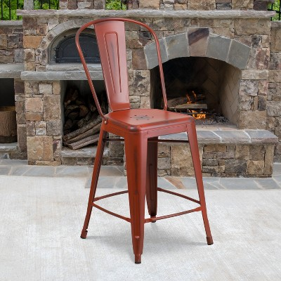 "Flash Furniture Commercial Grade 24"" High Distressed Metal Indoor-Outdoor Counter Height Stool with Back"
