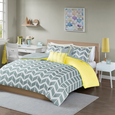 Yellow Chevron Darcy Duvet Cover Set (King/California King)- 5pc