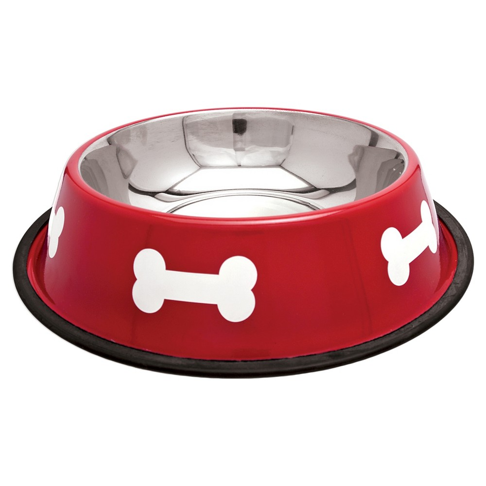 Ruffin'it Fashion Steel Bowl With White Bones - Red (64oz)