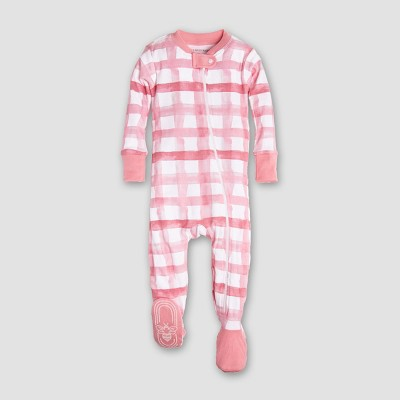 Burt's Bees Baby Girls' Organic Cotton Buffalo Check Sleeper - Pink/White 3-6M