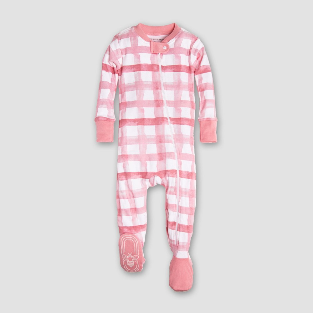 Burt's Bees Baby Girls' Organic Cotton Buffalo Check Sleeper - Pink/White 2T, Multicolored