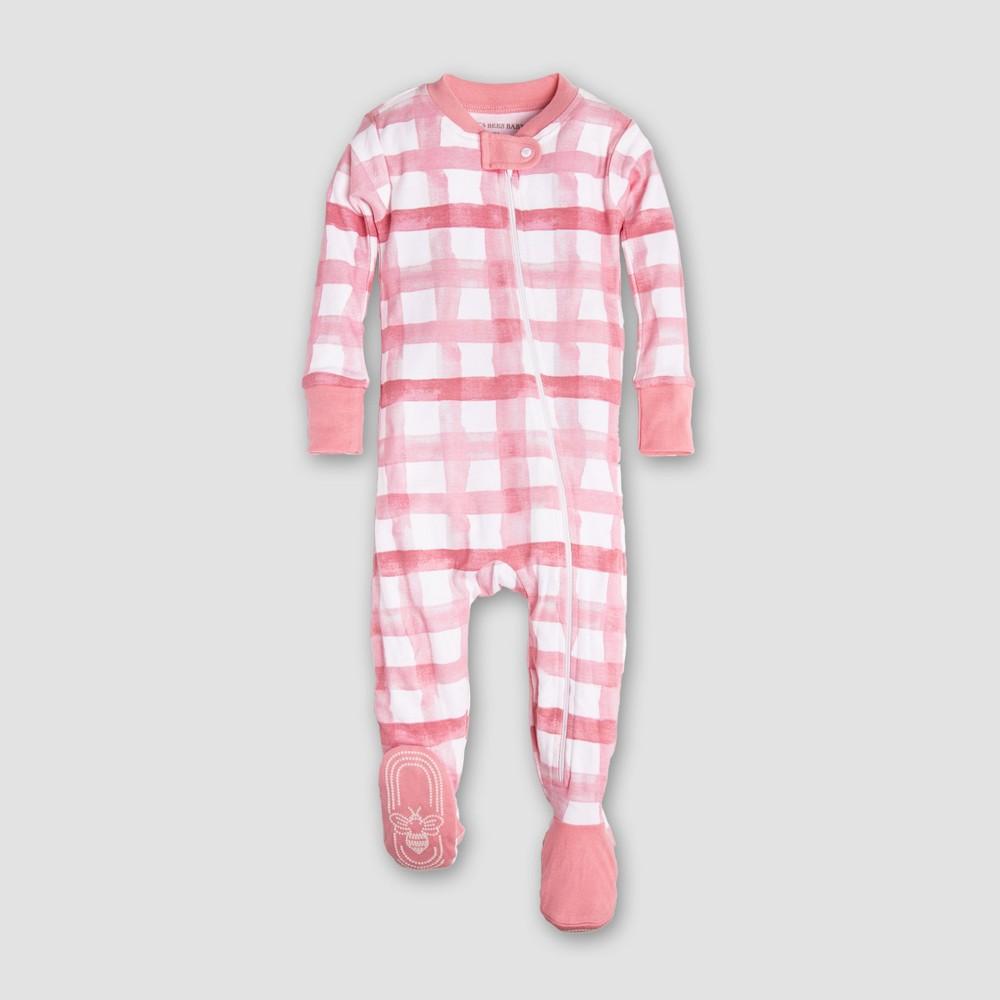Burt's Bees Baby Girls' Organic Cotton Buffalo Check Sleeper - Pink/White 6-9M, Multicolored