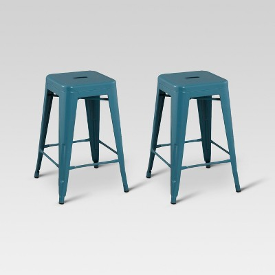 "Set of 2 Carlisle 24"" Metal Counter Height Barstool - Teal - Threshold™"