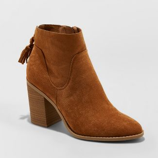 Women's Clare Tassel Heeled Bootie - Universal Thread™ Brown 6