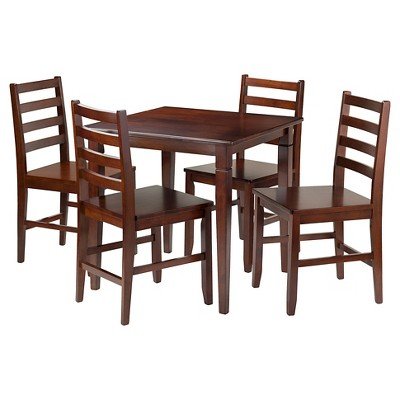 5 Piece Kingsgate Set Dining Table With Ladder Back Chairs Wood/Walnut    Winsome