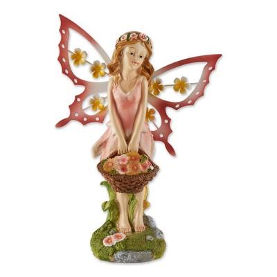 "10.75"" Polyresin Fairy Solar Garden Statue Pink - Zingz & Thingz"