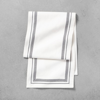 Table Runner Black Embroidered Lines - Hearth & Hand™ with Magnolia
