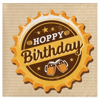 "16ct Cheers & Beers Beverage Napkins - ""Hoppy Birthday"""
