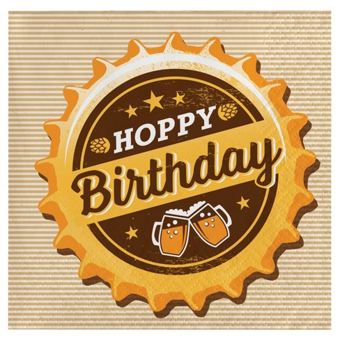 hoppy birthday 16ct Cheers & Beers Beverage Napkins