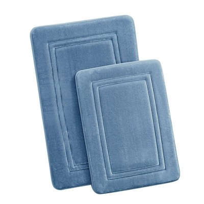 2pc HeiQ Antimicrobial Memory Foam Bath Rug Set Blue - Truly Calm