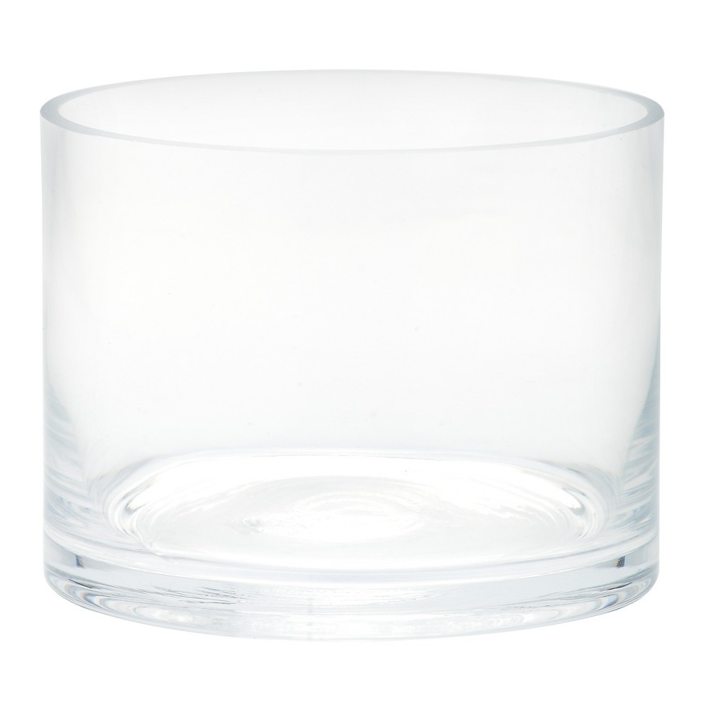 "Image of ""4""""x5"""" Glass Cylinder Vase - Diamond Star, Clear"""