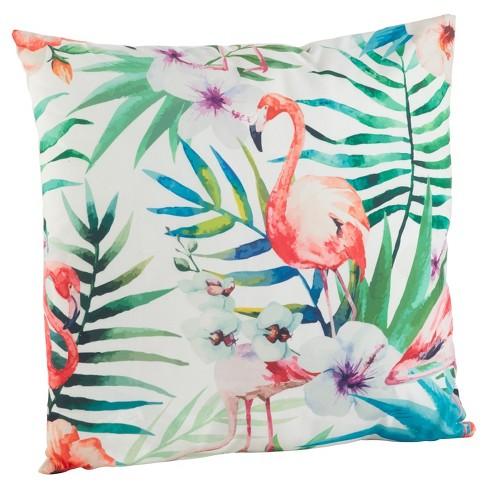 18 X18 Tropical Flamingo Print Throw Pillow Saro Lifestyle Target