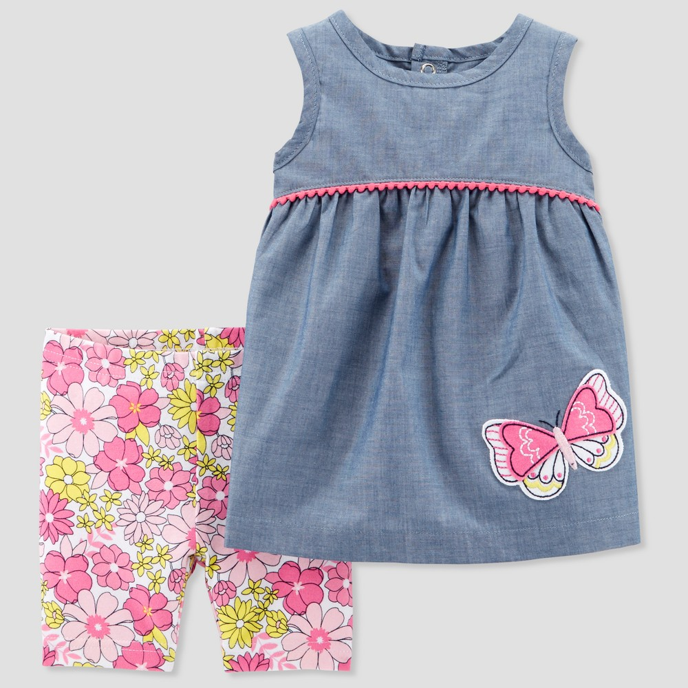 Baby Girls' 2pc Butterfly and Shorts Set - Just One You made by carter's Chambray 6M, Blue