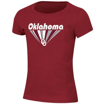 NCAA Oklahoma Sooners Girls' Short Sleeve Scoop Neck Crimson T-Shirt