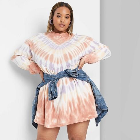 Women\'s Plus Size Long Sleeve Turtleneck Knit Tie-Dye Mini Dress - Wild  Fable™ Peach/Navy/Brown
