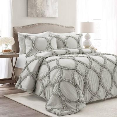 Lush Décor King 3pc Riviera Comforter Set Light Gray