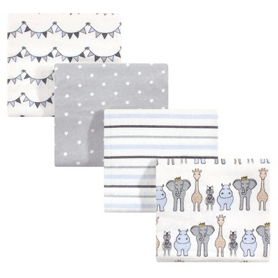 Hudson Baby Infant Boy Cotton Flannel Receiving Blankets, Royal Safari, One Size