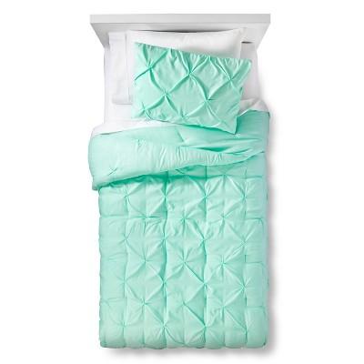 3pc Full/Queen Pinch Pleat Comforter Set Mint Green - Pillowfort™