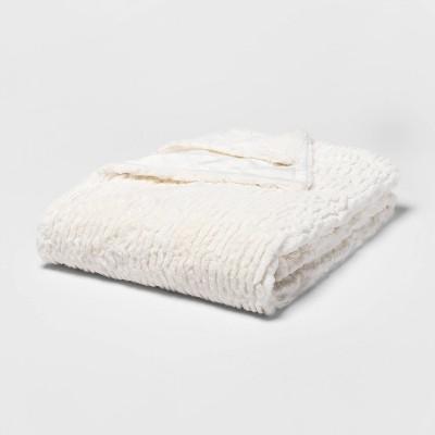 "55"" x 80"" Cut Faux Fur Solid Bed Throw Cream - Threshold™"