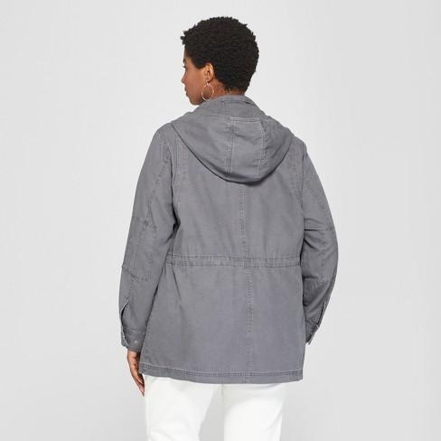 e5a77f864d34a Women s Plus Size Utility Anorak Jacket - Ava   Viv™ Gray 2X   Target