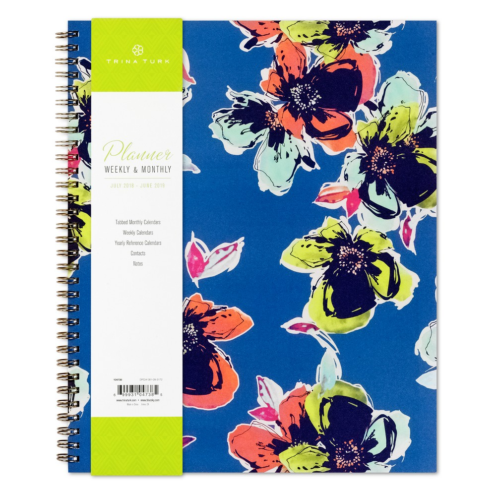 2018 Trina Turk Planner Weekly/Monthly Wire-bound - Arty Floral, Multi-Colored