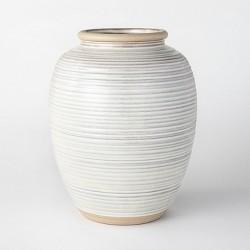 """11"""" Ceramic Ribbed Vase Cream - Threshold™ designed with Studio McGee"""