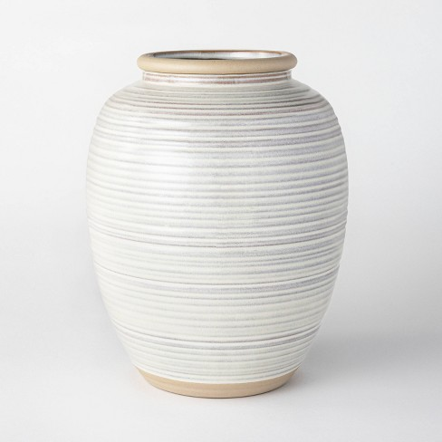 "11"" Ceramic Ribbed Vase Gray - Threshold™ designed with Studio McGee - image 1 of 4"