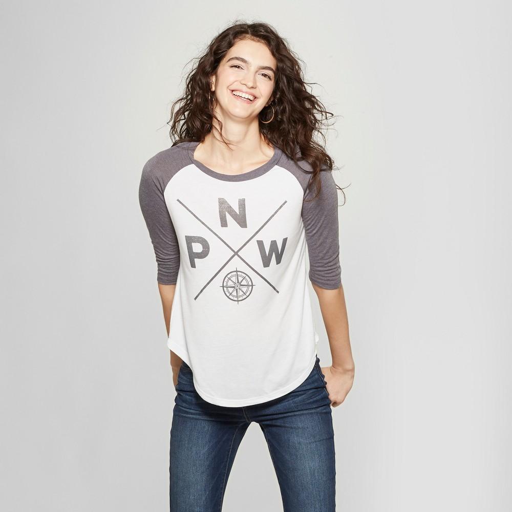 Women's 3/4 Sleeve Compass Graphic T-Shirt - Awake White Xxl