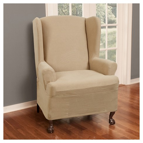 Surprising Natural Stretch Reeves Chair Slipcover 2 Piece Maytex Home Interior And Landscaping Eliaenasavecom