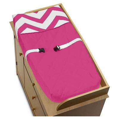 Sweet Jojo Designs Pink & White Chevron Changing Pad Cover - Pink