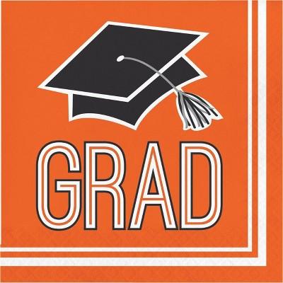 108ct Graduation School Spirit Disposable Napkins Orange